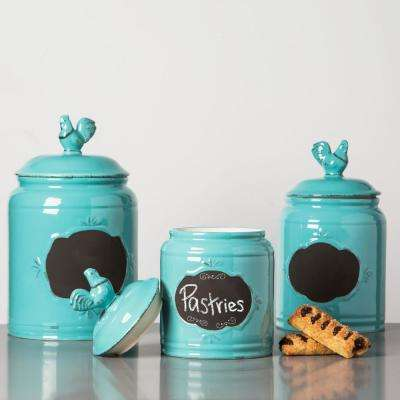 canisters kitchen island remodel food storage the home depot aqua ceramic chalkboard set of 3