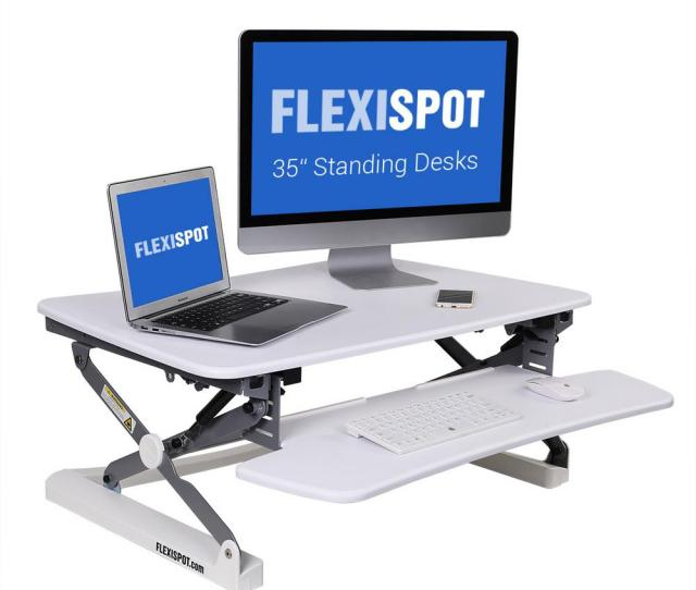 Flexispot 35 In W Platform Height Adjustable Standing Desk Riser Removable Keyboard Tray White