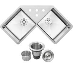 Corner Kitchen Sink Upper Cabinet Kit Double Undermount Sinks Bradford 16 Gauge Stainless Steel 44 25 In 4 Hole Basin