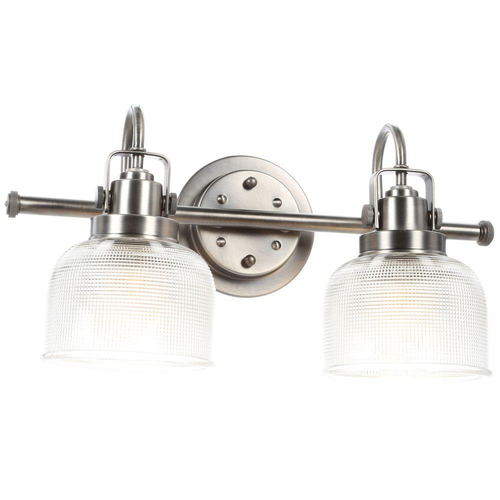 Progress Lighting Archie Collection 17 In 2 Light Antique Nickel Bathroom Vanity Light With Glass Shades P2991 81di The Home Depot