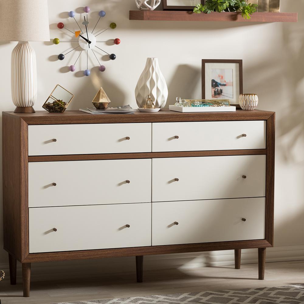 Baxton Studio Harlow 6Drawer White and Medium Brown Wood Dresser288626781HD  The Home Depot