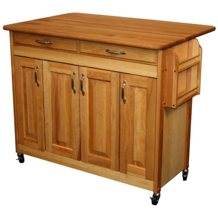 catskill craftsmen 44-3/8 in. butcher block kitchen island with drop