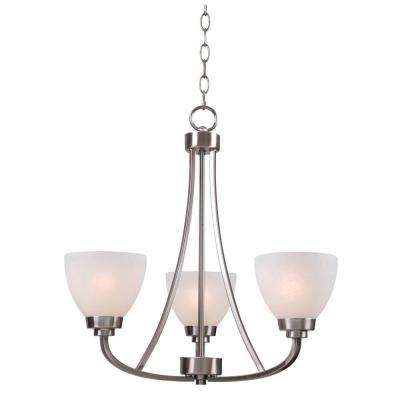 Hastings 3 Light Brushed Steel Chandelier With White Glass Shades