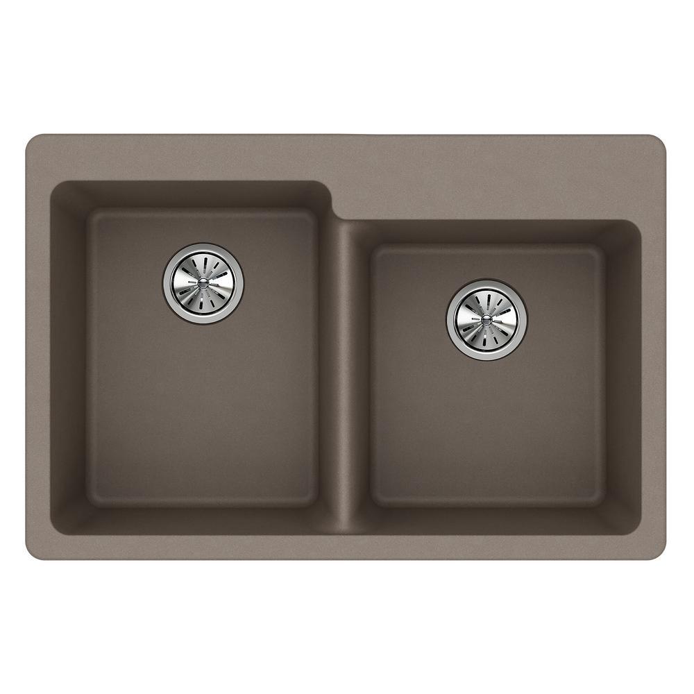 square kitchen sink mats elkay quartz classic drop in composite 33 offset double bowl greige