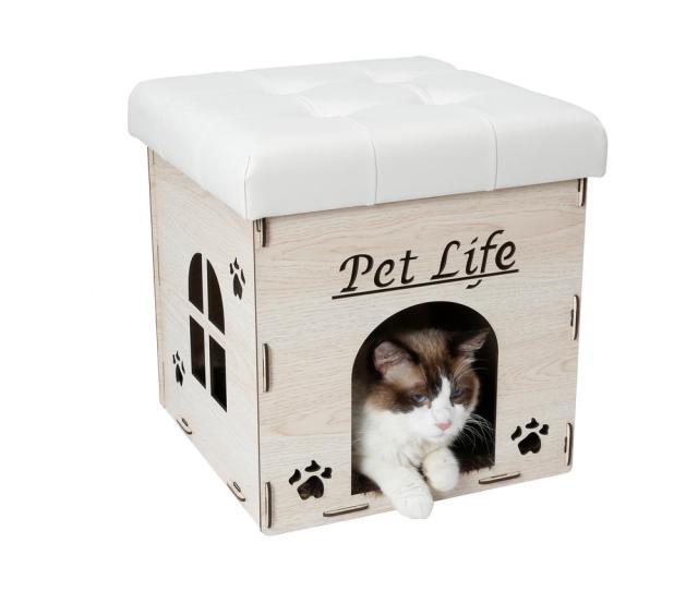 White Foldaway Collapsible Designer Cat House Furniture Bench