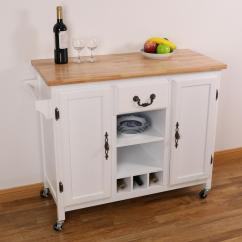 Large White Kitchen Island Hotel Chains With Kitchens Basicwise Wooden Trolley Heavy Duty Rolling Casters