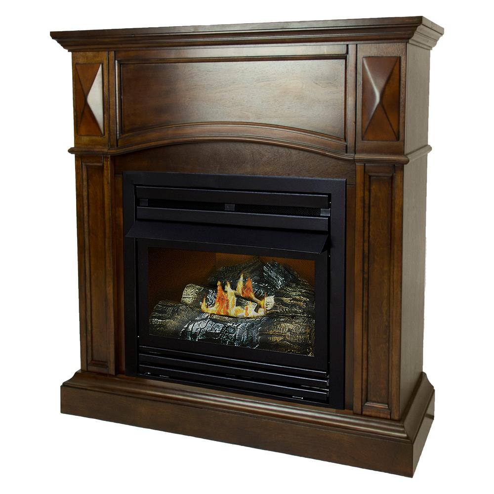 Pleasant Hearth 20000 BTU 36 in Compact Convertible Ventless Propane Gas Fireplace in Cherry