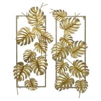 THREE HANDS Gold Metal Tropical Leaves Wall Decor (Set of ...