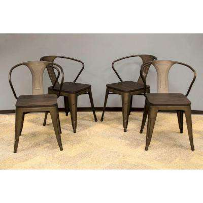 set of 4 dining chairs diy room chair slipcover metal kitchen furniture the rustic gunmetal with dark elm wood tops