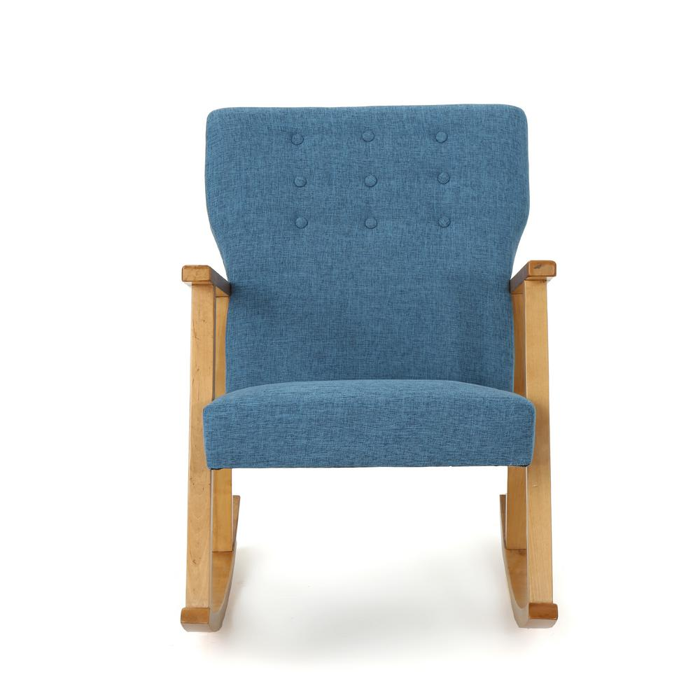 cheap modern rocking chair n s noble house harvey mid century button back muted blue fabric