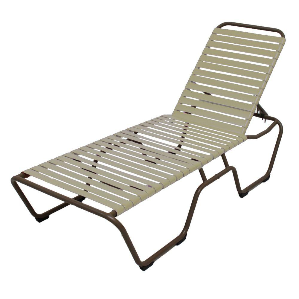 Pool Chaise Lounge Chairs Marco Island Brownstone Commercial Grade Aluminum Patio Chaise Lounge With Putty Vinyl Straps 2 Pack