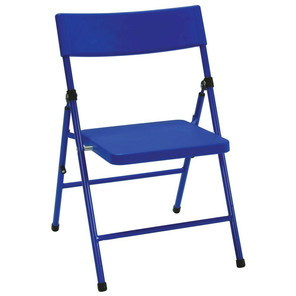 blue metal folding chairs swivel chair vs glider cosco kids set of 4 14301blu4e the home depot