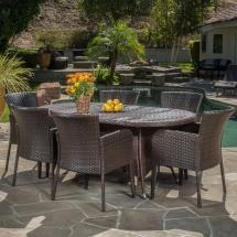 Noble House Corsica Multi-brown 7-piece Wicker Outdoor