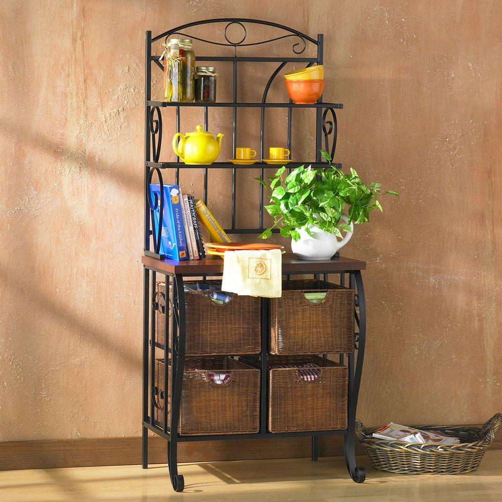 bakers racks for kitchen farm sink southern enterprises stewart black baker s rack hd888224 the home