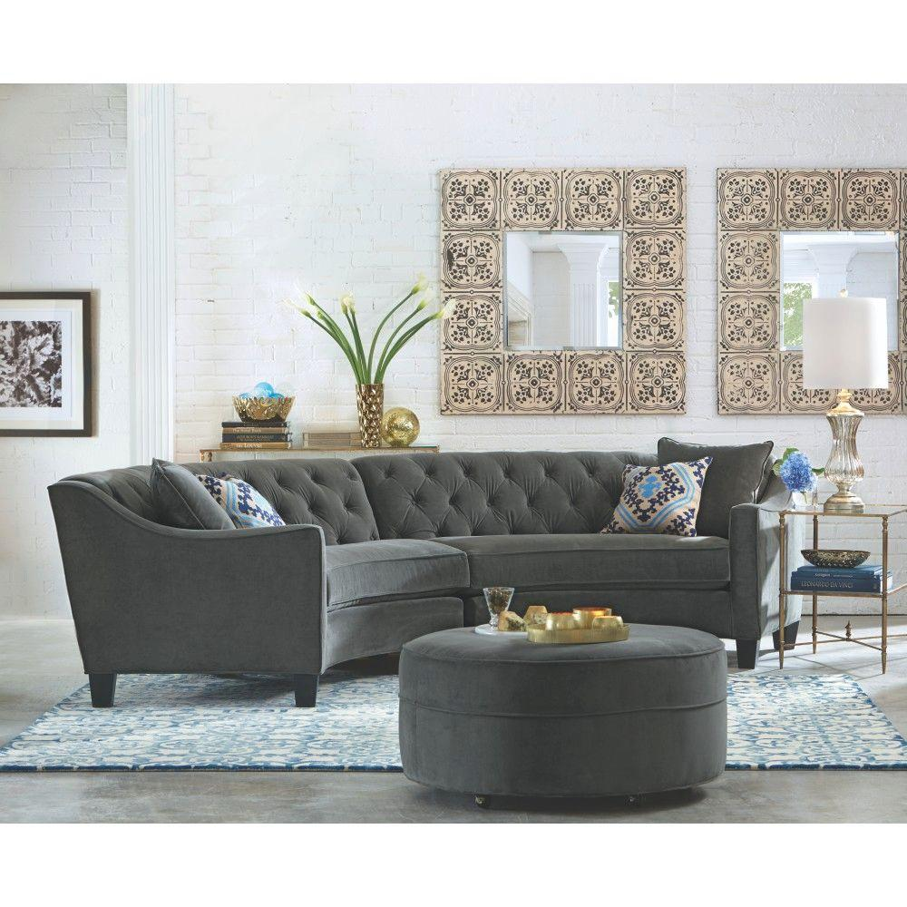Home Decorators Collection Riemann 2Piece Smoke Microsuede Sectional1315100200  The Home Depot