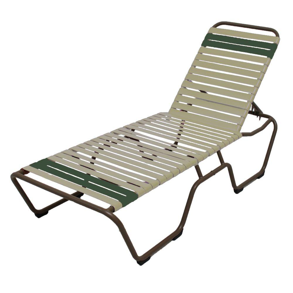 Outdoor Patio Chaise Lounge Recliner Aluminum Frame Green