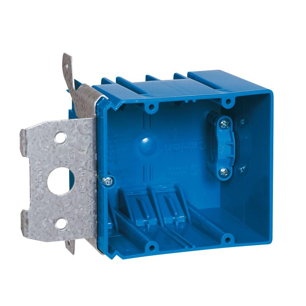 medium resolution of carlon 2 gang 34 cu in adjustable pvc electrical box with side clamp