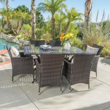 Noble House Madison Multi-brown 7-piece Aluminum Outdoor
