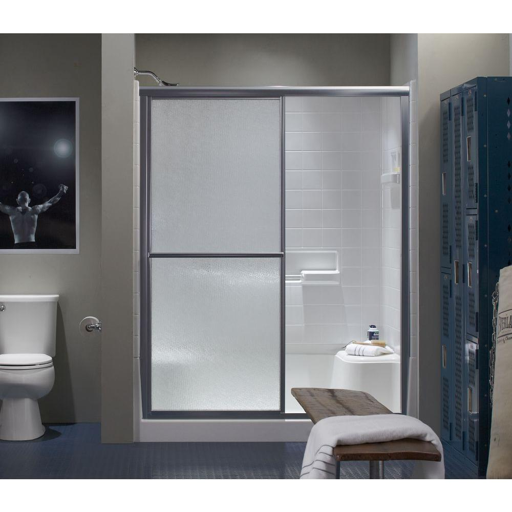 STERLING Deluxe 5938 in x 691516 in Framed Sliding Shower Door in Silver with Handle