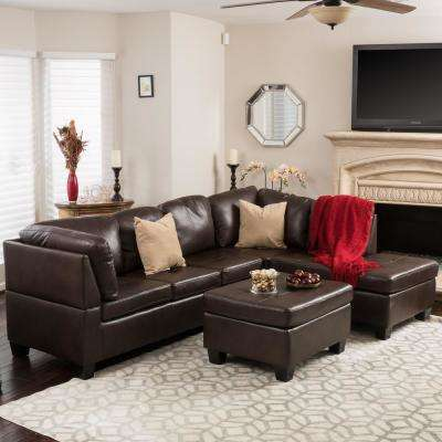 living room sets sectionals pictures of country decorated rooms furniture the home depot 3 piece brown tufted seat pu leather sectional and ottoman set
