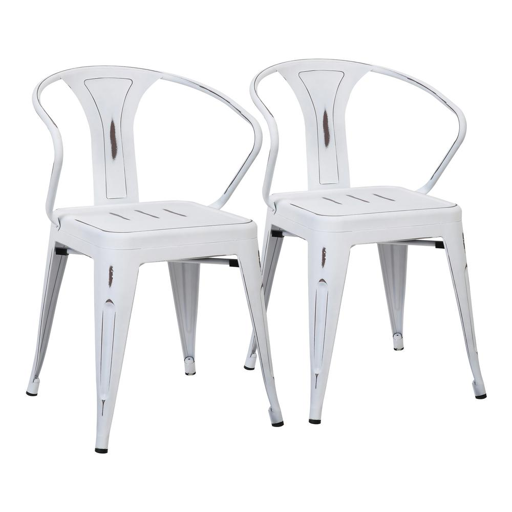 Lumisource Waco Vintage White Metal Dining Chair Set of 2