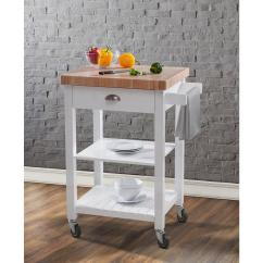 Kitchen Block Swinging Door White Cart 2 In Thick Butcher Top 1 Drawer Shelves Premium End Grain Two And For Convenient Storage Additional Features Include Casters Mobility Towel