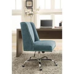 Aqua Desk Chair Bean Bag Chairs Target Linon Home Decor Draper Polyester Office 178404aqua01u