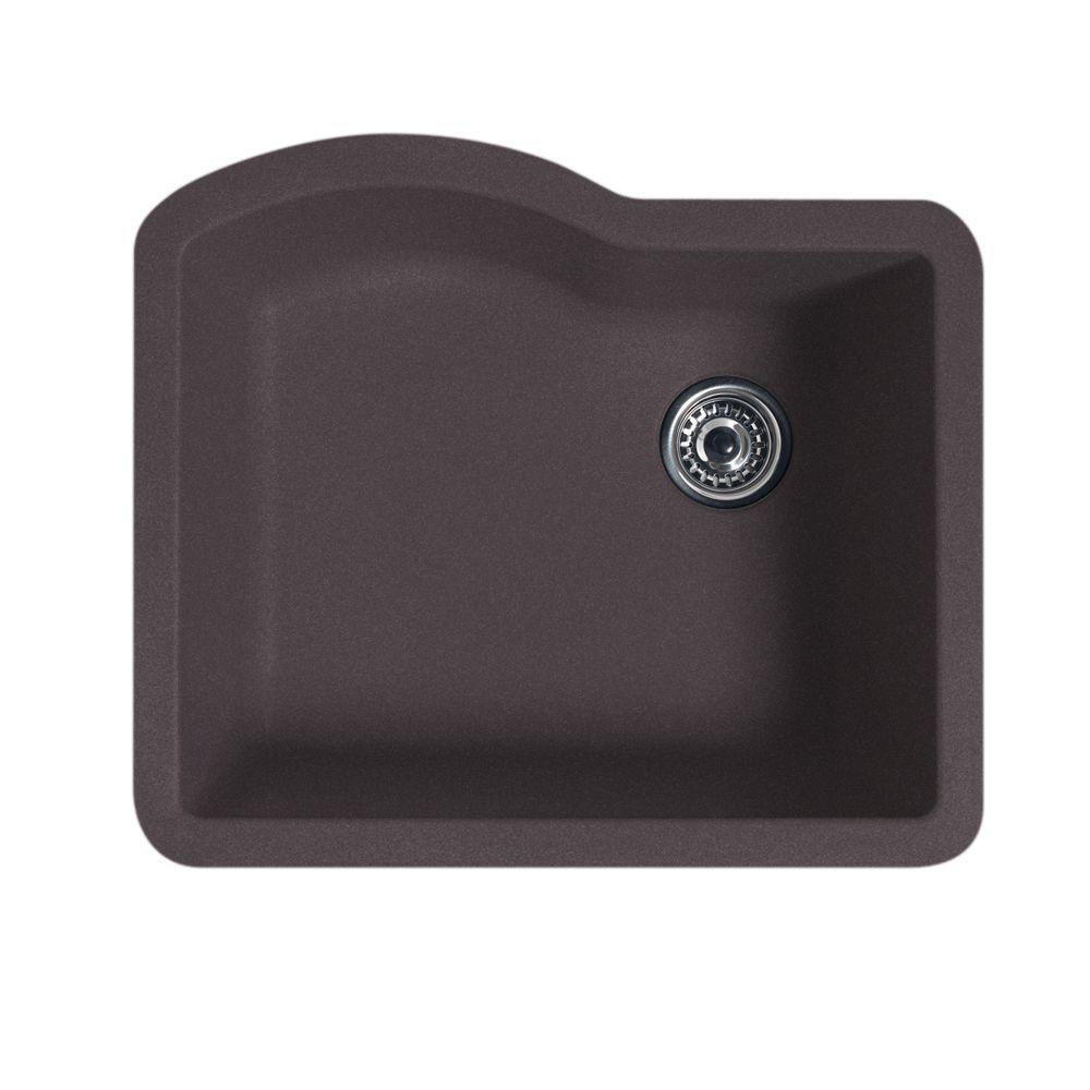 swan granite kitchen sinks sink strainer undermount 24 in 0 hole single bowl nero