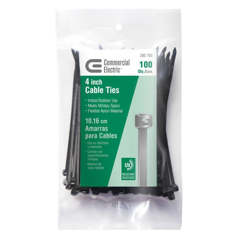 173eb0fedaf6 Commercial Electric 4 In Uv Cable Tie Black 100 - Inspirational ...