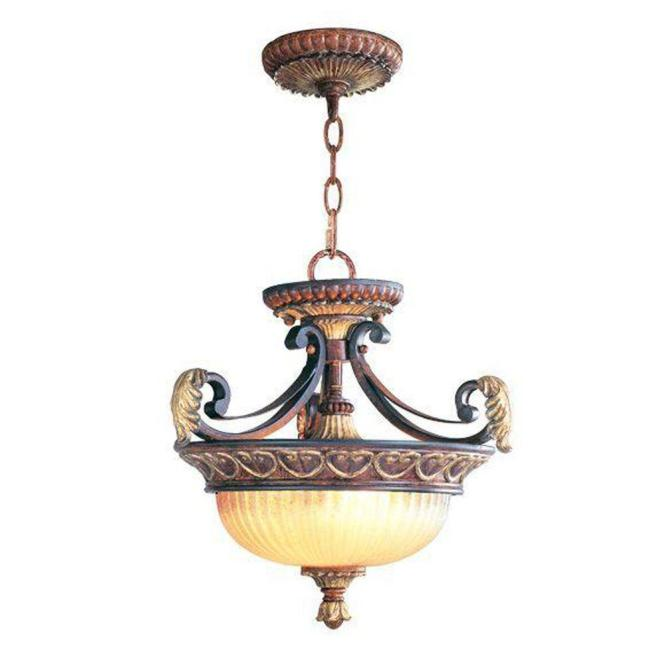 Livex Lighting 2 Light Verona Bronze Chandelier With Aged Gold Leaf Accents And Rustic Art