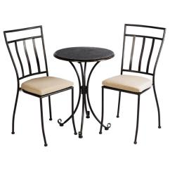 Metal Bistro Chairs Hickory Chair Outlet Alfresco 3 Piece Ponza Set With 24 In Round Granite Top Table And 2 Cushions