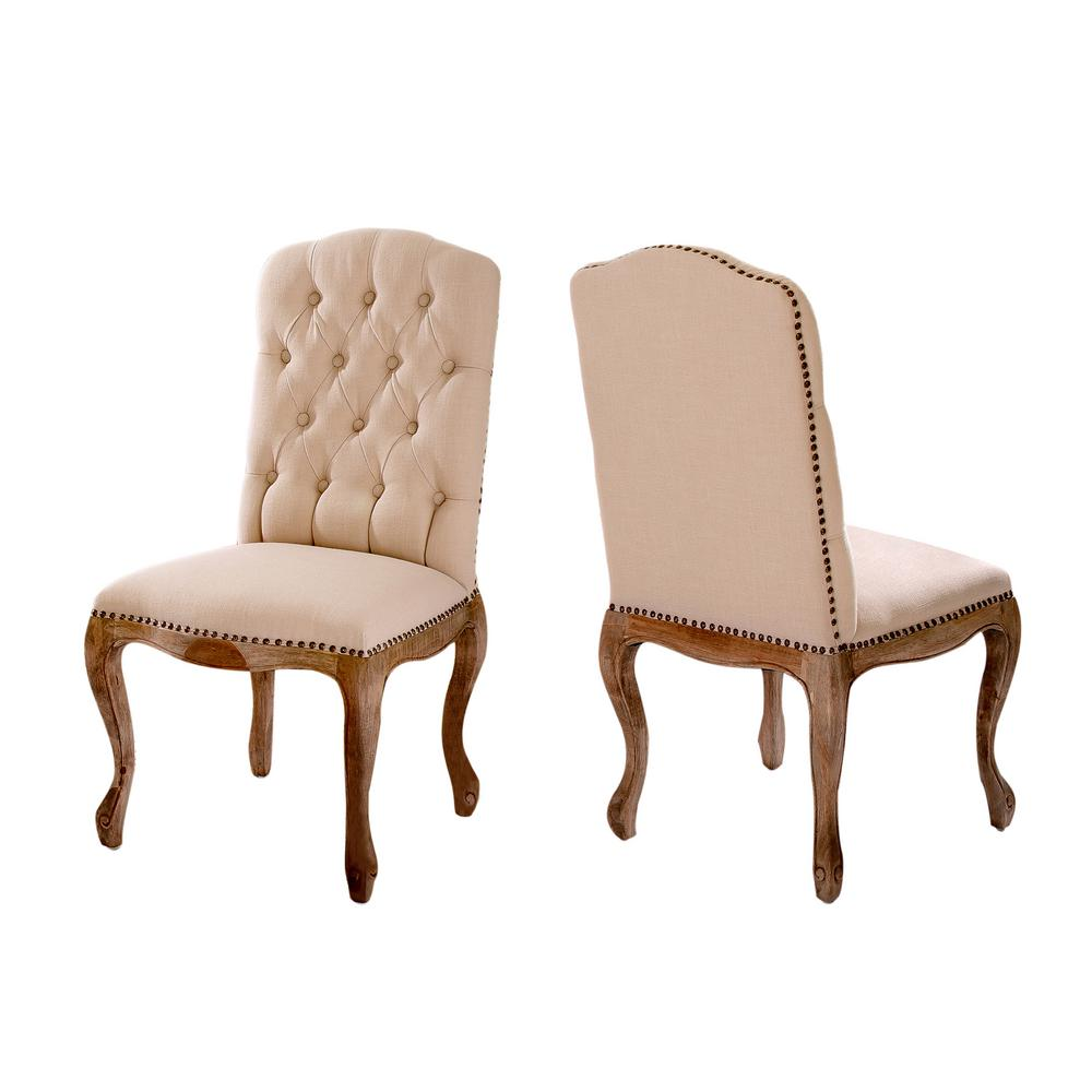 Studded Dining Chairs Noble House Lucine Tan Fabric Studded Dining Chairs Set Of 2