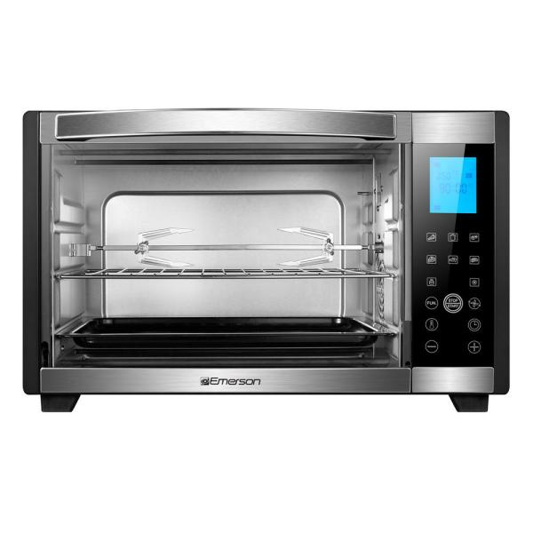 Emerson 6-slice Black And Stainless Convection
