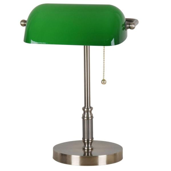 Hampton Bay 15 In. Antique Brass Bankers Lamp With Green