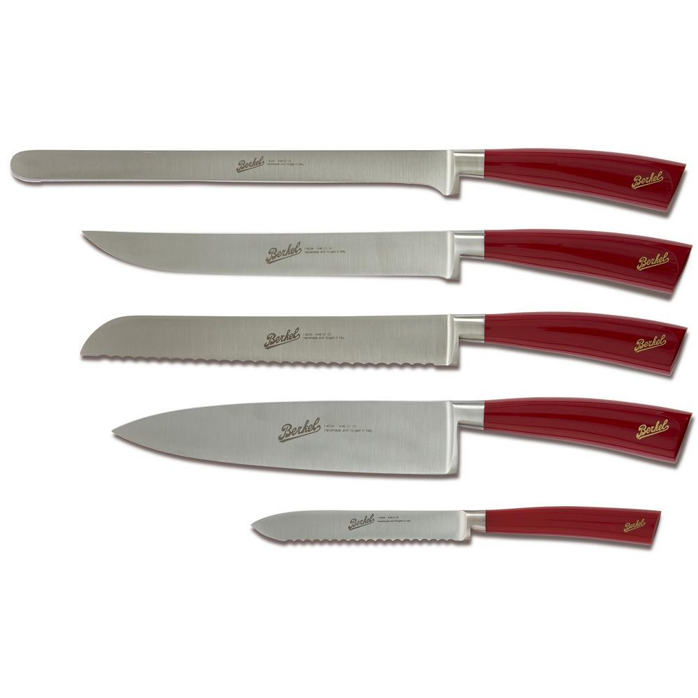 red kitchen knife set benches with storage berkel elegance 5 piece in kel5cs00srrgb