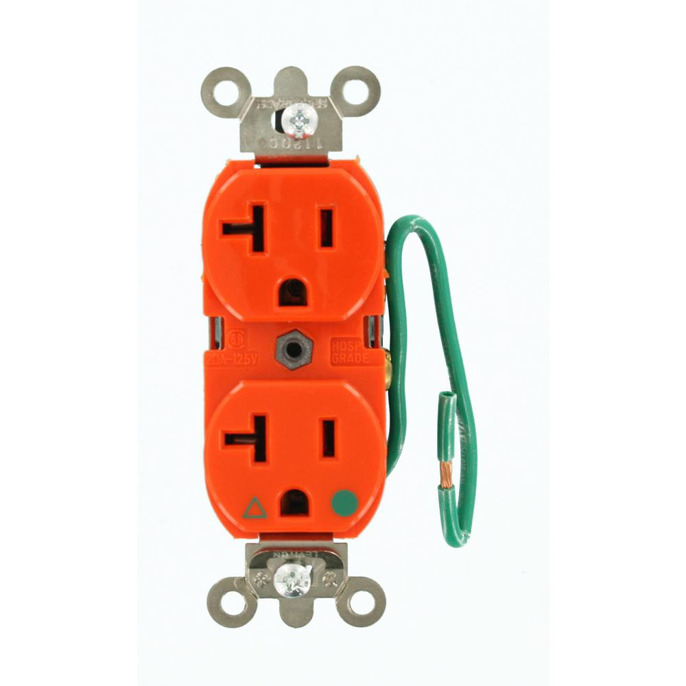 medium resolution of leviton 20 amp hospital grade extra heavy duty isolated ground duplex outlet with 6 in