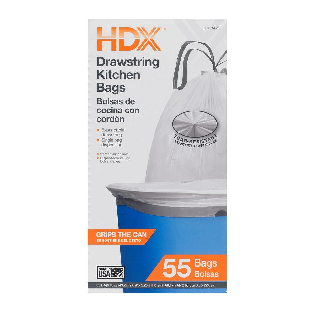 kitchen bags wall faucets hdx 13 gal drawstring white trash 55 count hdx959537