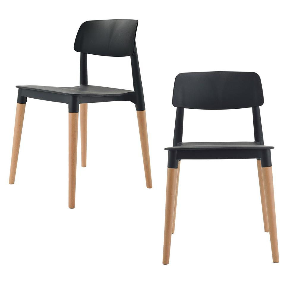 black plastic chair with wooden legs upholstered dining chairs cheap cozyblock bel series modern accent side beech wood leg set of 2