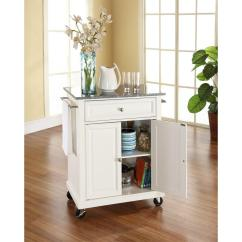 White Kitchen Island Cart Towel Holder Crosley With Granite Top Kf30023ewh The Home Depot