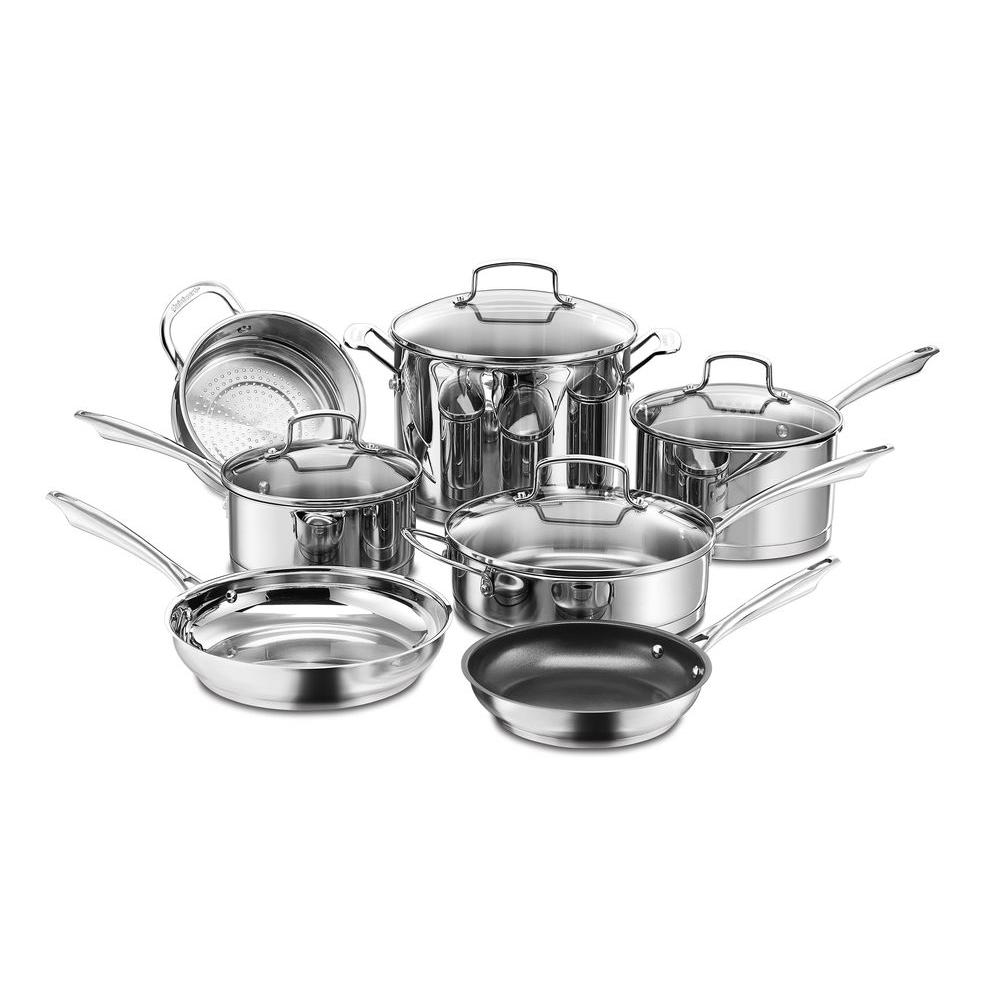 kitchen pans delta leland faucet cuisinart professional series 11 piece stainless steel cookware set with lids