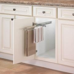 Kitchen Towel Bars Win Makeover Real Solutions For Life 1 In H X 5 W 18 D Pull Out 3 Arm Bar Cabinet Organizer Silver