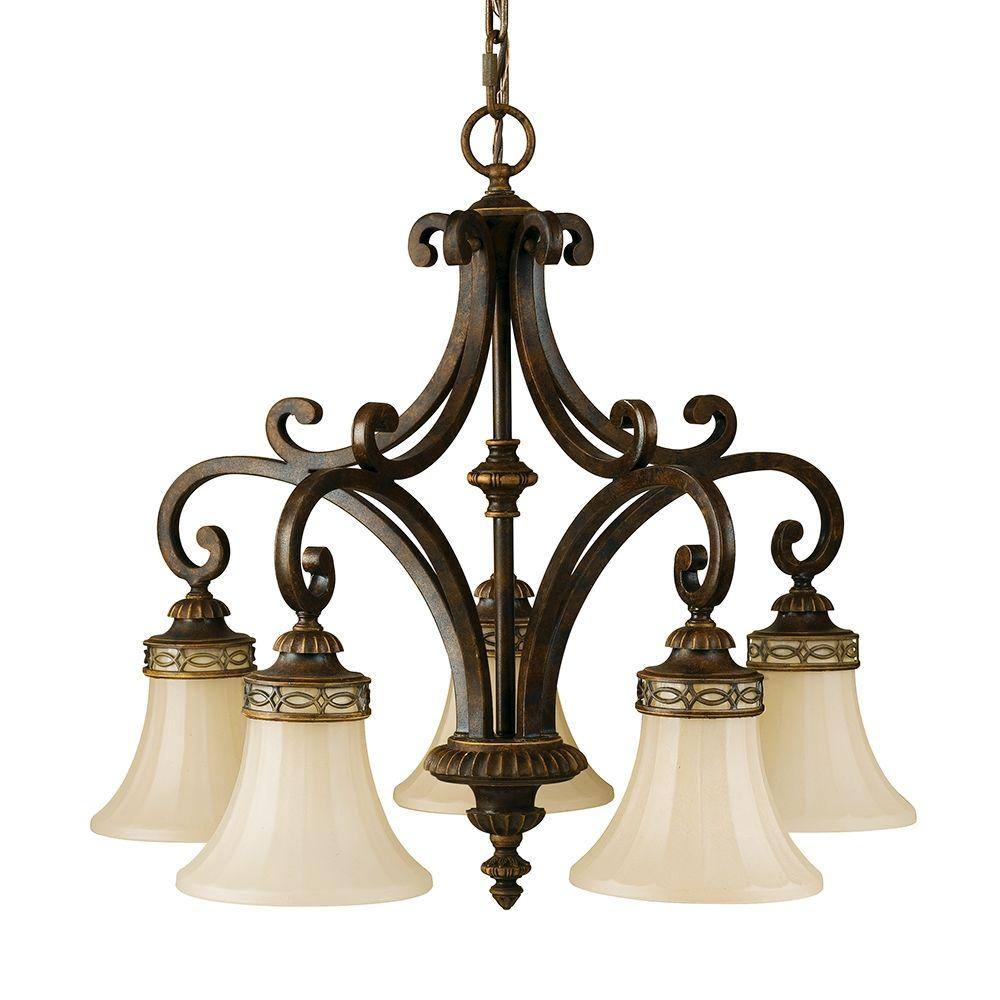kitchen chandeliers industrial island sea gull lighting drawing room 5 light walnut chandelier with glass shade