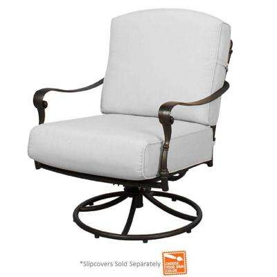 patio swivel rocker chairs wooden church chair cast aluminum furniture the home depot edington lounge with cushions included choose your own color