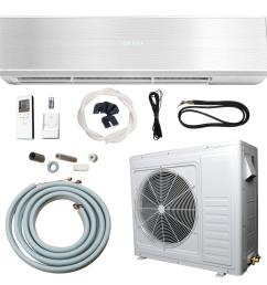 24 000 btu 2 ton ductless mini split air conditioner and heat pump 220v 60hz [ 1000 x 1000 Pixel ]