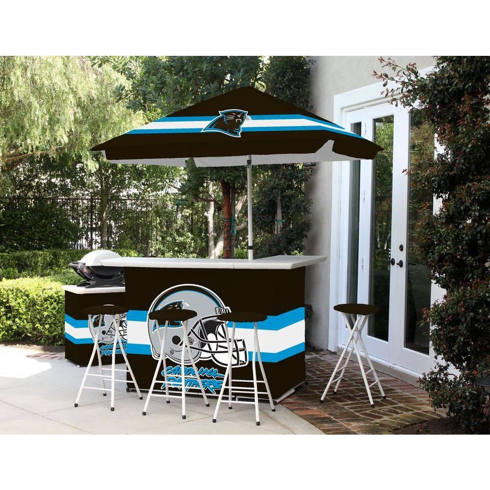 carolina panthers folding chairs christmas chair covers spotlight best of times all weather patio bar set with 6 ft umbrella