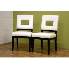 Cream Upholstered Dining Chairs Gold Chair Sashes Baxton Studio Faustino White Faux Leather Set Of 2