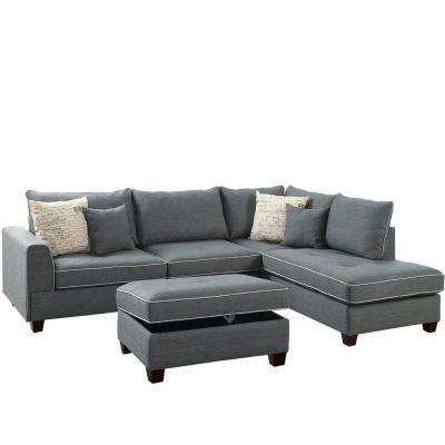 gray sofa with chaise lounge one piece slipcover diy sectionals living room furniture the home depot siena 3 sectional in steel storage ottoman