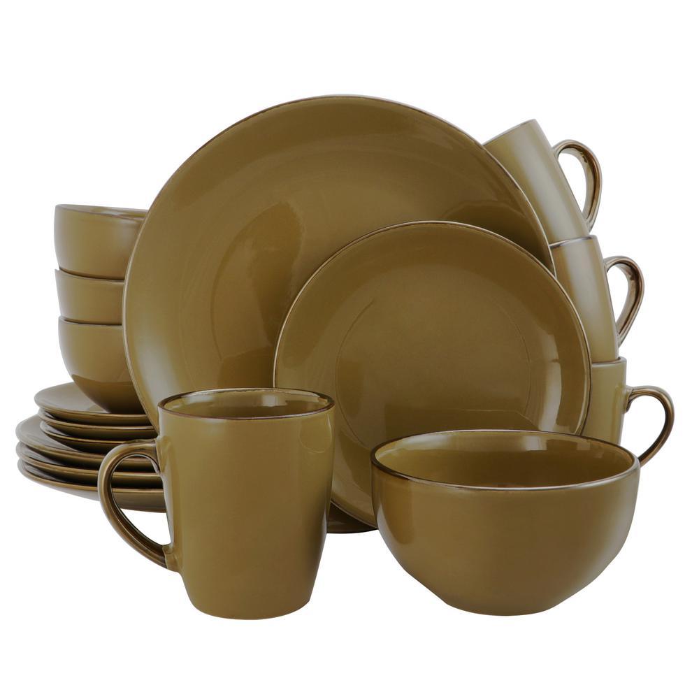 elama bristol grand 16 piece casual taupe stoneware dinnerware set service for 4 985109538m the home depot