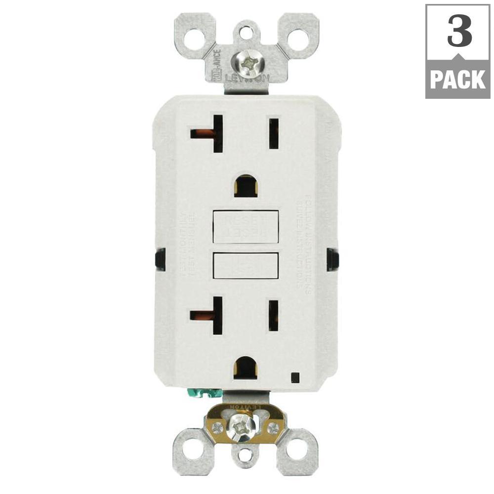 medium resolution of leviton 20 amp self test smartlockpro slim duplex gfci outlet white r12 gfnt2 0rw the home depot