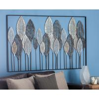 59 in. x 37 in. Natural Black, White and Bronze Metal Leaf ...
